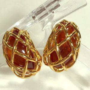 Amber & Gold Tone Net Clip On Earrings-KJL
